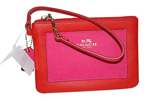 Coach Crossgrain Leather Small Wristlet 53142 Cardinal Pink Ruby by Coach