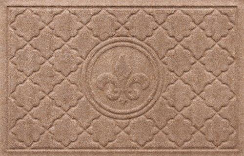 Bungalow Flooring 2 by 3-Feet WaterGuard Door Mat, Bombay Fleur De Lis Design, Medium Brown