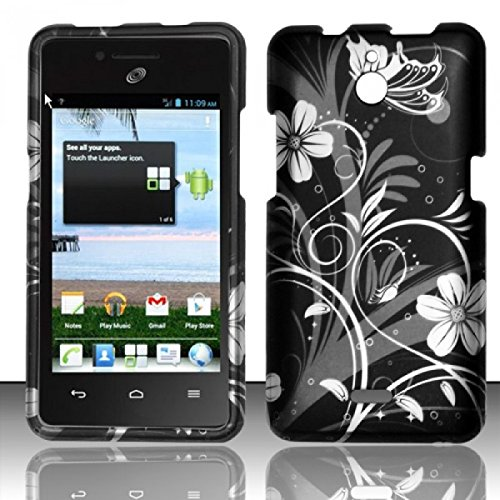 For Huawei Valiant Y301 / Ascend Plus H881c Rubberized Design Cover Case - White Flowers]()