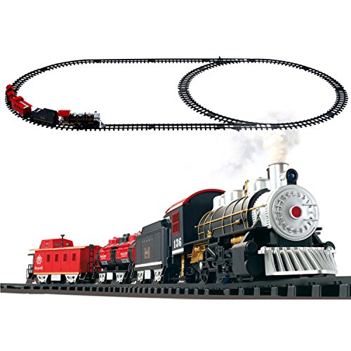 PROD Classical Locomotive Battery Operated Steam Train Rail Set, Go Toy Train With Real Smoke, Music, Lights Railway Car Set (Steam Rails)