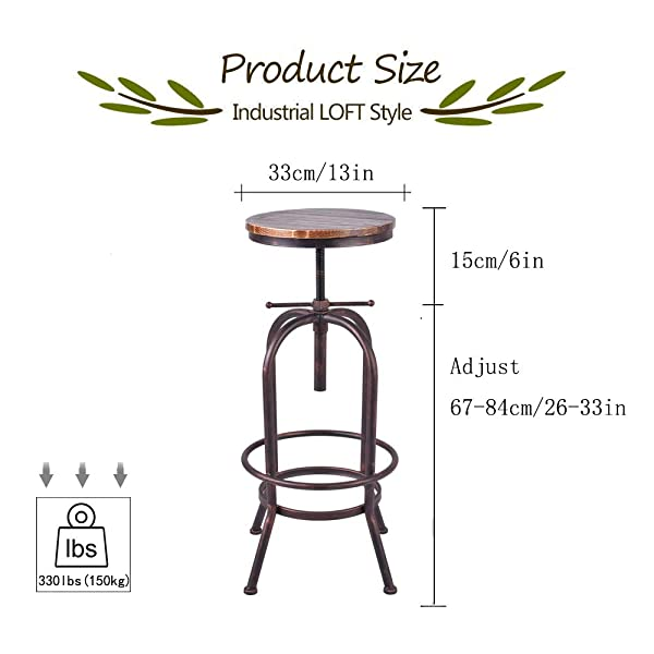 Articial Retro Industrial Bar Stool Solid Wood and Metal Height Adjustable Swivel Counter Height Dining Chair(Assembly not Required) (Bronze)