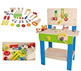 Award Winning Hape Master Workbench Kid's Wooden Toolbench Pretend Builder Set