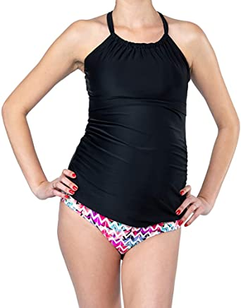 003f7e1148 Oceanlily Halter Maternity Bathing Suit-Pregnancy Swimsuits-Maternity  Tankini TOP at Amazon Women's Clothing store: