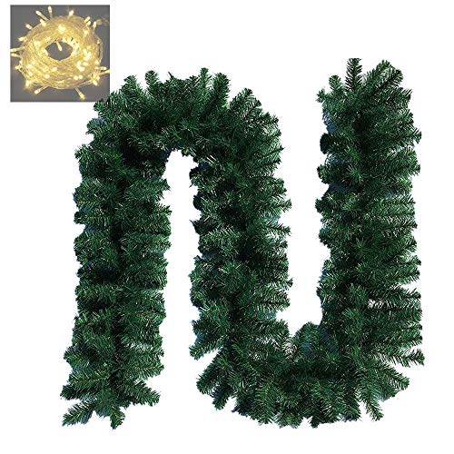 ANOTHERME 9 FT Christmas Garland Decoration Non-Lit Holiday Artificial Decor for Stairs Wall Door Indoor or Outdoor Use