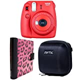 Nifty FK-M8RA84PK Fuji Instax Mini 8 Camera Kit with Case (Black Plus Pink/Black Cheetah Album/Raspberry)