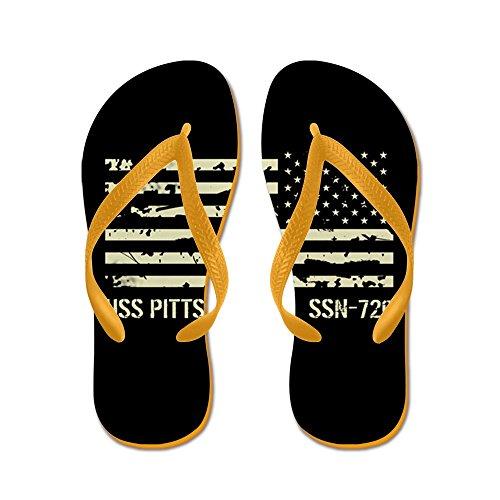 Cafepress Uss Pittsburgh - Flip Flops, Grappige String Sandalen, Strand Sandalen Oranje