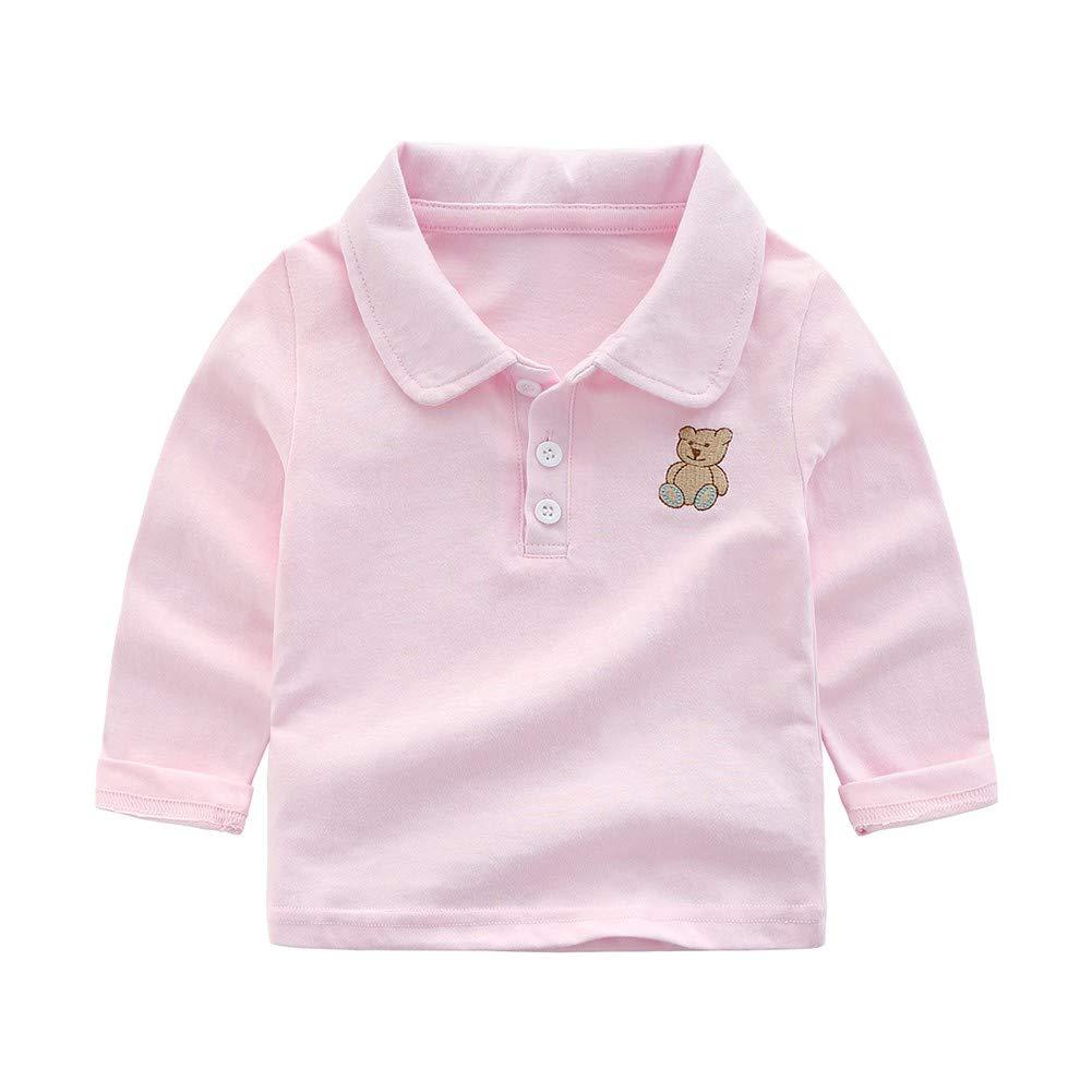 BOBORA Toddler Baby Boys Long Sleeve Polo Shirt Blouse Tops with Cute Bear for 0-4Years