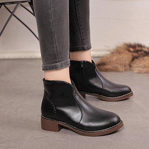 Sikye Kvinna Läder Boots Bekväm Slip-on Rund Tå Känga Låg Klack Svart