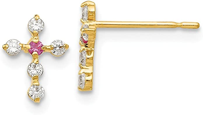 Mia Diamonds 14k Yellow Gold CZ Childrens Cross Pendant