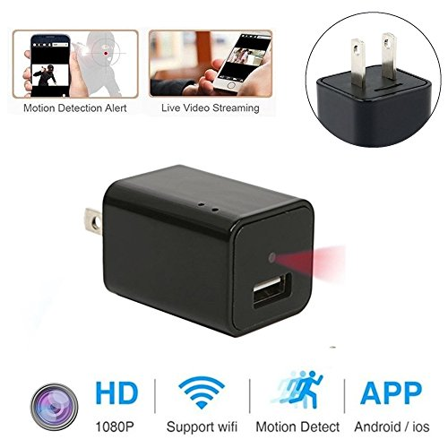 Mini Wifi Charger Spy Camera, FRCAMI 1080P HD Hidden Cameras USB Wall Charger Adapter Cam