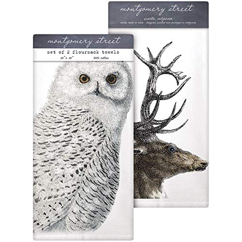 (Montgomery Street Snowy Owl/Deer Antlers Cotton Flour Sack Dish Towels, Set of 2)