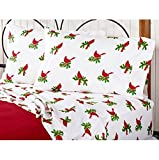 Christmas Winter Holiday Red Cardinal Birds Sheet Set with Holly Branches (4pc King Size) (100% Soft Microfiber)
