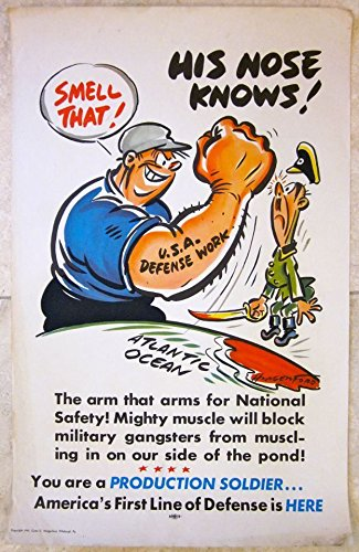 ORIGINAL 1941 WWII POSTER - HIS NOSE KNOWS, USA DEFENSE NETWORK - FUNNY CARTOON 1941 Poster Print