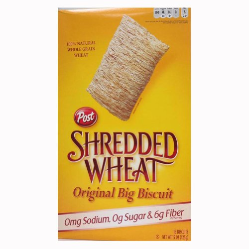 Post Shredded Wheat Original Cereal, No Sugar or Salt Added, 15-Ounce Boxes (Pack of 4) (Cereals With No Added Sugar Or Salt)