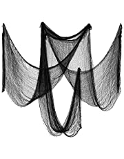 Biubee Pack of 5 Halloween Black Creepy Cloth- Spooky Fabric Cloth for Haunted House Halloween Party Doorway Outdoors Decoration (30×72inch)