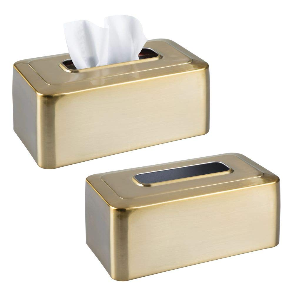 mDesign Modern Metal Tissue Box Cover for Disposable Paper Facial Tissues, Rectangular Holder for Storage on Bathroom Vanity, Countertop, Bedroom Dresser, Night Stand, Desk, Table, 2 Pack - Soft Brass