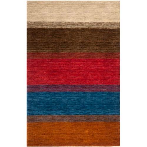 Safavieh Handmade Himalaya Orange Multicolored Stripe Wool Gabbeh Rug 5 x 8 5 x 8 Rectangle