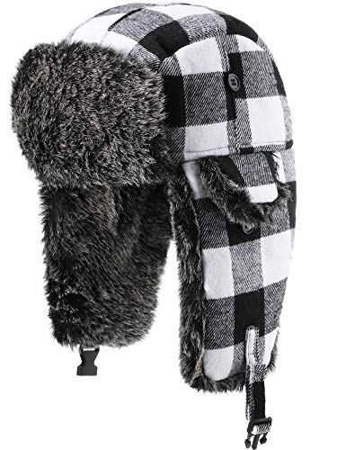Unisex Trapper Hat Faux Fur Plaid Earflaps Hat with Chin Strap Winter Hunting Hats Warm Lining Hat for Women Men (Black Grey Plaid)