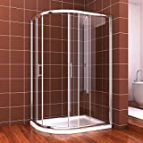 900x760mm Left Quadrant Easy Clean Shower Enclosure Glass Screen Cubicle Door+Stone tray +Free waste trap FREE NEXT DAY DELIVERY by sunny showers,ultra