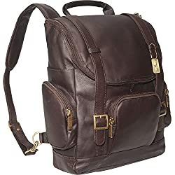 Claire Chase Portofino Computer Leather Backpack, Laptop Bag in Cafe