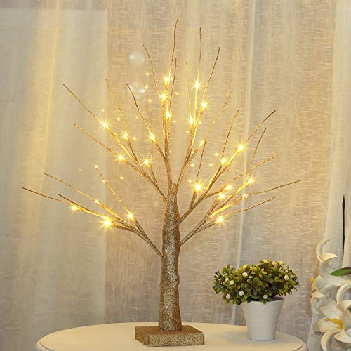 Bolylight LED Table Lamp Birch Money Tree Gift Holder Night Light Centerpieces Great Decoration for Home/Christmas/Party/Festival/Wedding, 1.5ft Gold