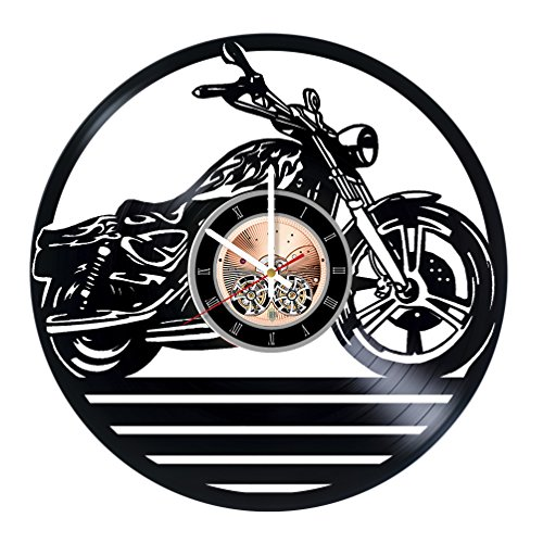 (choma Motorbike Vinyl Record Wall Clock - Living Room or Home Room wall decor - Gift ideas for friends, boys and girls - Garage Unique Art Design)