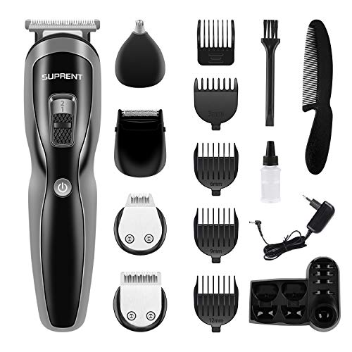 Beard Trimmer SUPRENT Beard Grooming Kit Fast&Quick USB Charge, Li-ion Battery,11-in-1 Beard Trimmer with Sideburns Trimmer, Facial Trimmer, Nose Hair Trimmer, Cordless Beard Trimmer