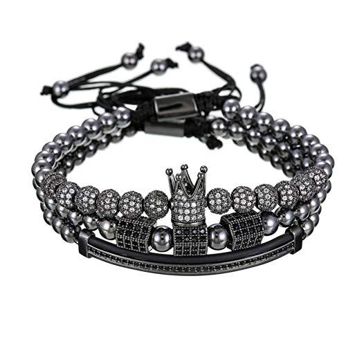 YASEF Bracelet 3pcs/Set Men Women Gold Hip Hop Bracelet Jewelry Moon Crown Charms Beads Bracelets Sets for Women