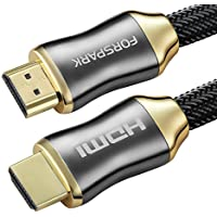 HDMI Cable 8ft by FORSPARK – HDMI 2.0 (4K) – High-Speed:18Gbps, 26AWG – 4K/HD TVs, Xbox 360, Xbox One, PS3, PS4, Apple TV, TV Receiver, Computer, Blu Ray, Roku Compatible – 24K Gold Plated Connectors