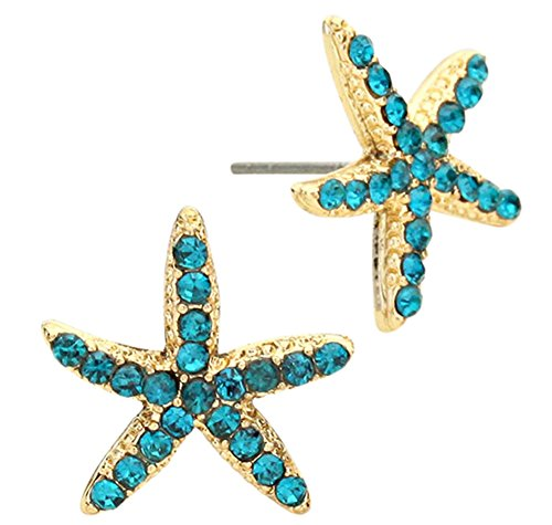 Adorable Sparkling Teal Blue Crystal Starfish Stud Earrings Nautical Gold Tone Fashion Jewelry (Competition Dance Costume For Sale)