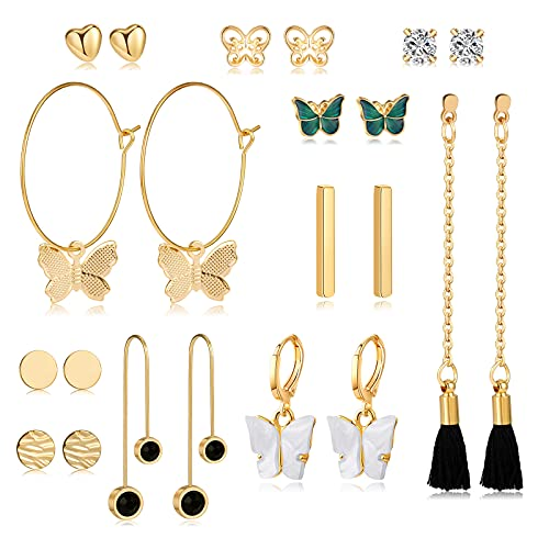 CHANBO 11 Pairs Boho Style Long Tassel Gold Pendant Earrings Women's Retro Pearl Long Butterfly Earrings Heart-shaped Hoop Earrings