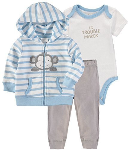 Wan-A-Beez Baby Boys' and Baby Girls' 3-Piece Jacket Bodysuit Pant Set (Monkey, 3-6 Months)