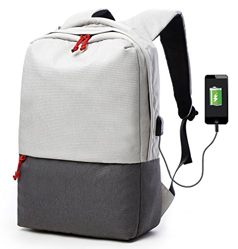 ackpack 15.6 Inch Daypack with USB Port/Water Resistant Nylon Briefcase Laptop Bag Tablet for College/Travel/Business/Sports Men&Women(White) ()