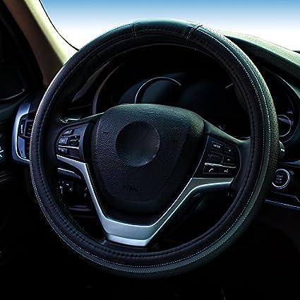 XuanMax Nuovo Fashion Universale Coprivolante Auto Microfibra Pelle Traspirante Veicolo Copri Volante dell'automobile Antiscivolo Copertura di Volante Car Steering Wheel Cover 38cm - Rosso