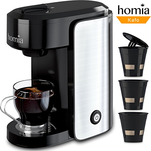 Coffee Maker Machine Electric Single Serve Brewer for Ground Coffee and K-cup Сompatible, 10 oz (300 ml), 1000W, 3.5 bar Pump, with Reusable Capsules and Automatic Shut-Off, Stainless Steel + Black