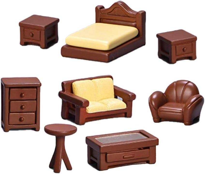 Set of 8 Miniature Dollhouse Furniture Decoration Mini Dollhouse Furniture Models Set Dollhouse Accessories Pretend Play Kids Toy