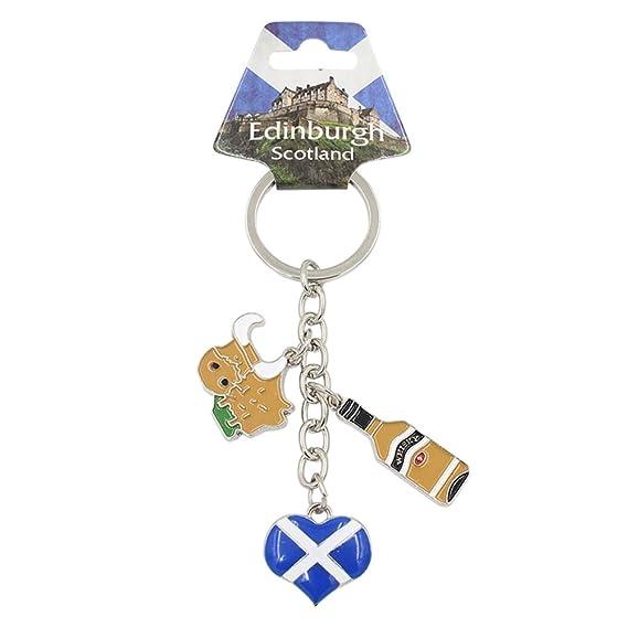 Escocia Charm llavero escocés bandera corazón botella de ...