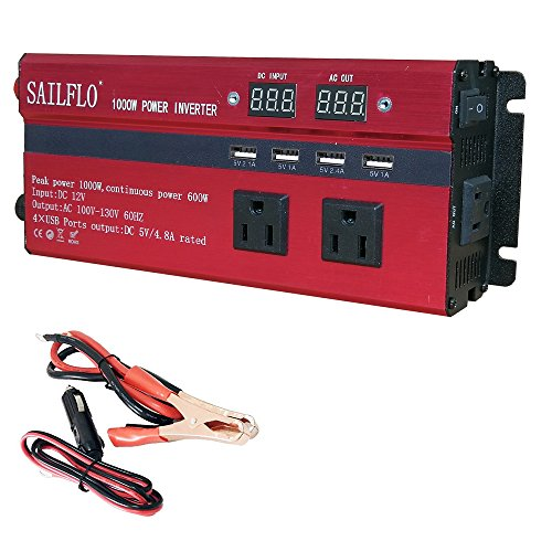 SAILFLO 1000W Peak Power Inverter DC 12V to AC 110V Car Adap
