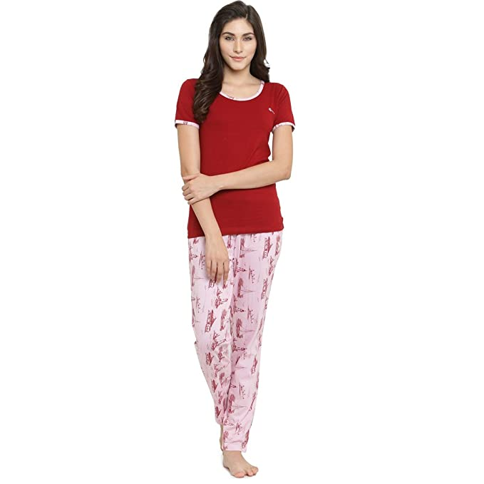 f0ee497ef3 Claura Printed Pink and Red Women Cotton Night Suit Or Top   Pyjama Set  -Medium