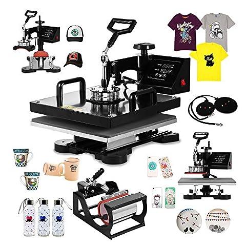 OrangeA Heat Press 5 in 1 Swing Away Heat Press Machine 1000W Hat Press 15X15Inch Heat Platen Multifunction Hat Mug Plate Cap (5 in 1 (15 X 15 Power Heat Press)