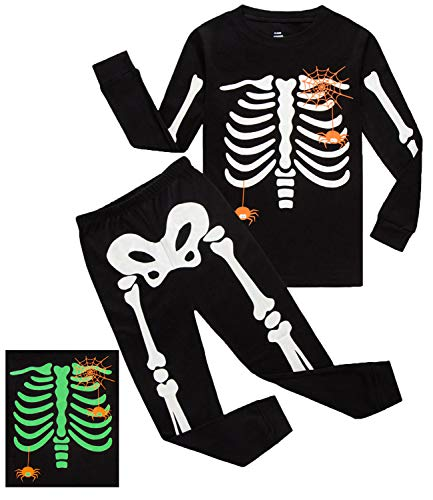 Boys Halloween Pajamas Skeleton-Glow-in-The-Dark Toddler Pjs Kids Clothes Shirts Size -