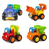Wolson Push and Go Friction Powered Car Toys Engineering Vehicles Set Tractor Bulldozer Mixer Truck and Dumper for Baby Toddlers
