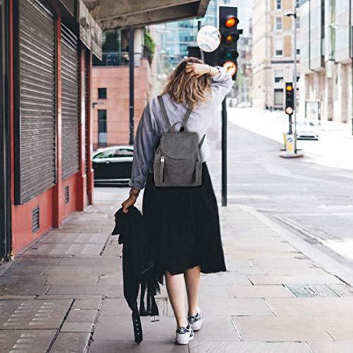 Sac College Dames Kasgo Vin pour à Élégant Sac Imperméable dos dos Sac Réglables Bretelles à Dos Fille Gris Cuir Daypack Casual PU à Mode Rouge Rabat Femme avec wqP1aArw