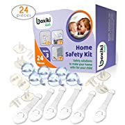 Baby Proofing Kit (24 Pieces) for Child Safety by Boxiki Kids. 8 Edge Guard Corner Protectors, 6 Sliding Locks and 10 Plug Covers. Toddler Safety Full Package All-in-One
