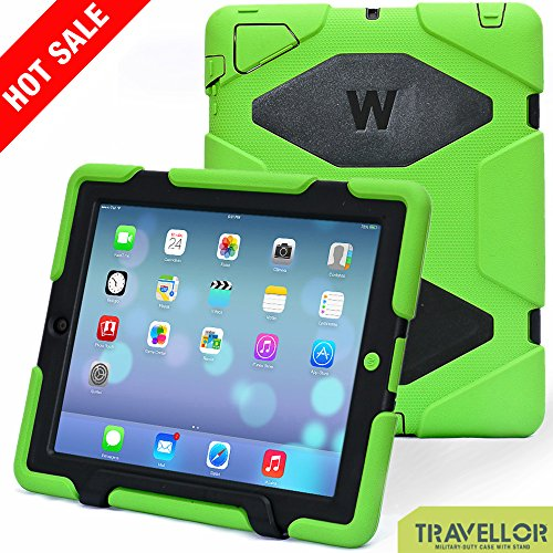 Travellor Ipad 2/3/4 Case Silicone kid proof Rainproof Sandproof Dust-proof Shockproof Extreme Duty Dual Protective Back Cover with Kickstand and Sticker for Ipad 4/3/2 (Green Black)