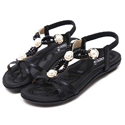 Las Para Mujeres Planos de Sandalias del Bohemias Las Negro Señoras Verano Rhinestone Ruiren Zapatos del BXPYqB