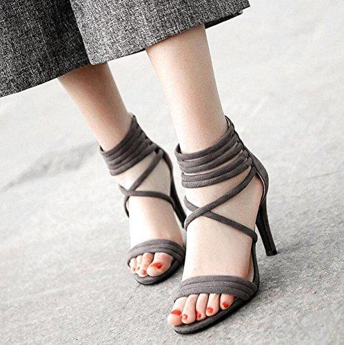 Roman Heel 40 Sandals Ankle Toe dark gray Four Strap Pump Optional Combination 43 Super Open Striped Fine Colors Women 76ZBOnAB