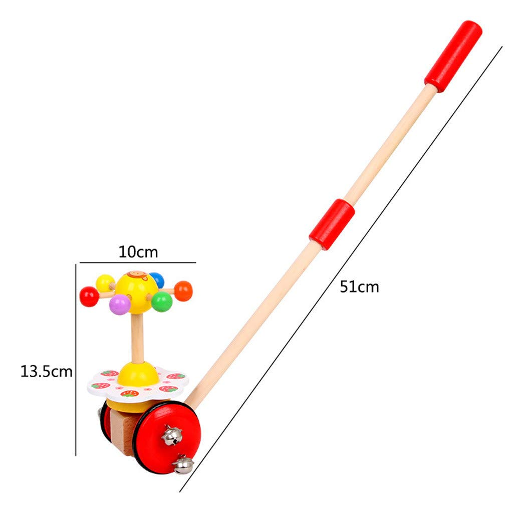 Celendi Kid Toy Creative Wooden Baby Walk Single Rod Spiral Trolley Learning Education Toy Cart for Children's Day Gift by Celendi (Image #3)