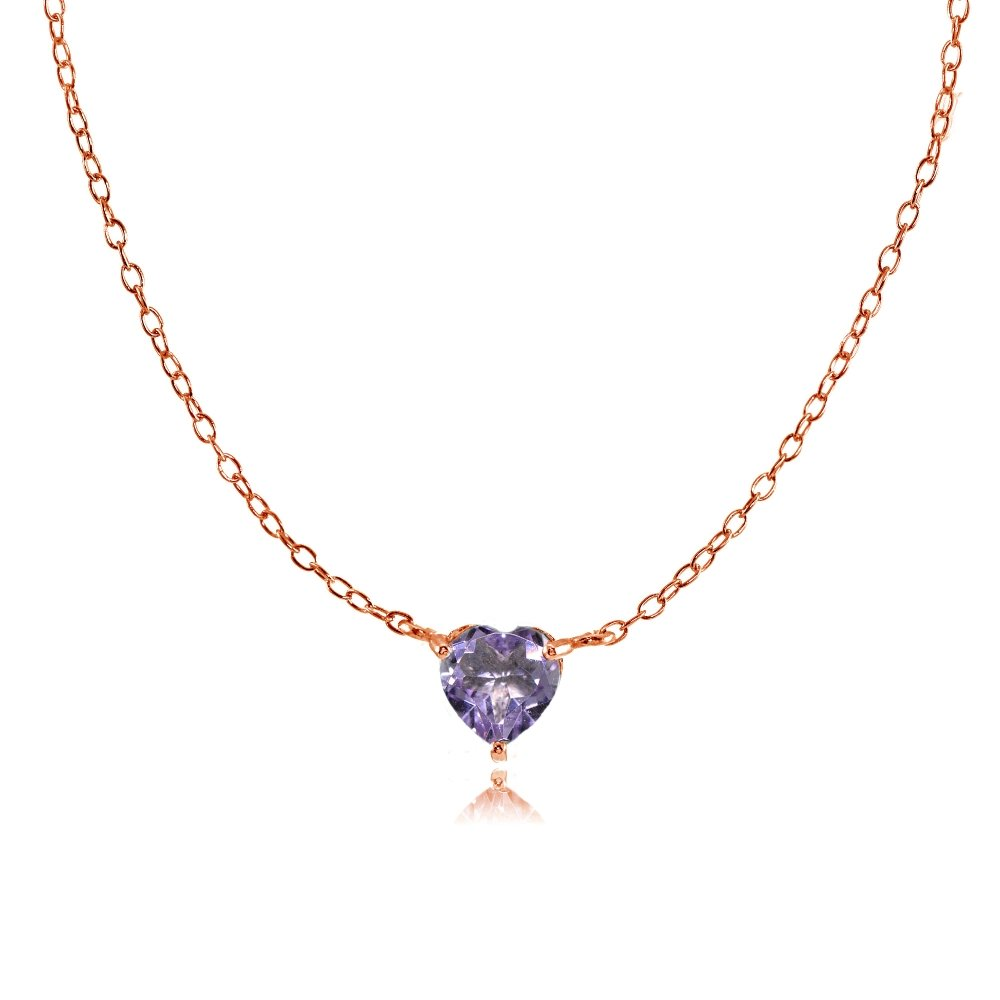 a1be69c0839 Amazon.com  Ice Gems Rose Gold Flashed Sterling Silver Small Dainty  Amethyst Heart Choker Necklace  Jewelry