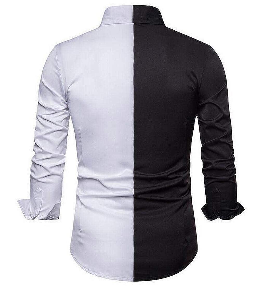 WNSY Men Vogue Splicing Color Block Long Sleeve Lapel Button Down Shirt